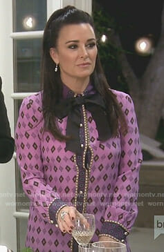 Kyle's pink diamond print bow blouse on The Real Housewives of Beverly Hills