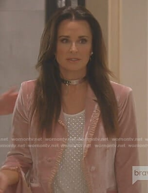 Kyle's pink velvet ruffled jacket on The Real Housewives of Beverly Hills