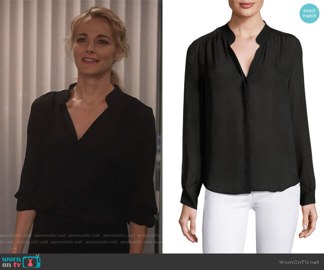 Bianca Buttoned Silk Blouse by L'Agence worn by Lizzie Needham (Bojana Novakovic) on Instinct