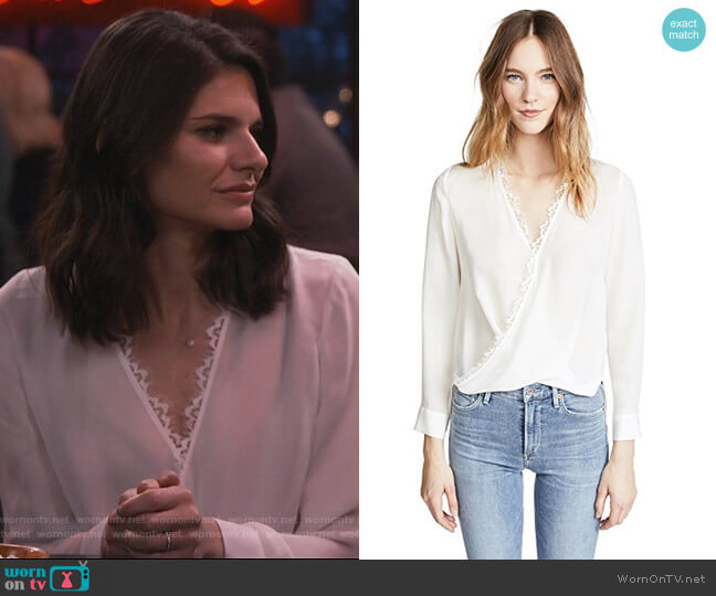 Rosario Lace Trimmed Silk Top by L'Agence worn by Leslie Curry (Lindsey Kraft) on Living Biblically