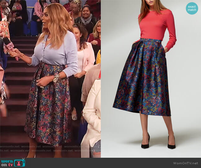 Floral Print Skirt by L.K. Bennett worn by Wendy Williams on The Wendy Williams Show