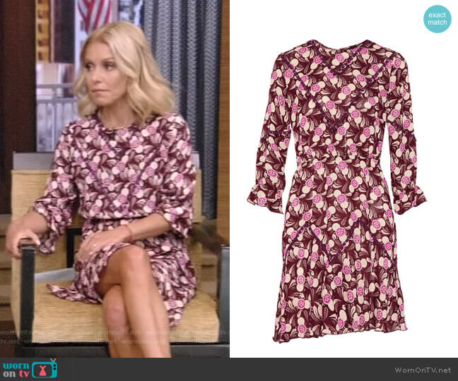 Lace-Trimmed Printed Crepe Mini Dress by Anna Sui worn by Kelly Ripa on Live with Kelly & Ryan