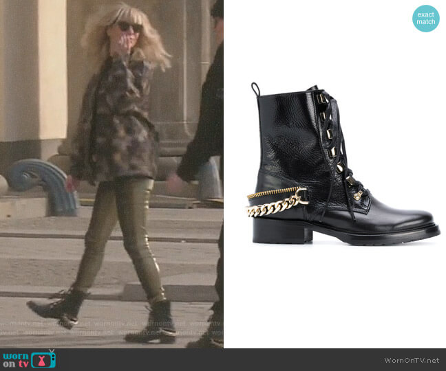 Chain-Embellished Combat Boots by Lanvin worn by Dorit Kemsley (Dorit Kemsley) on The Real Housewives of Beverly Hills