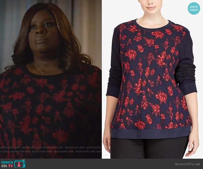 Plus Size Floral-Print Sweatshirt by Ralph Lauren worn by Retta on Good Girls