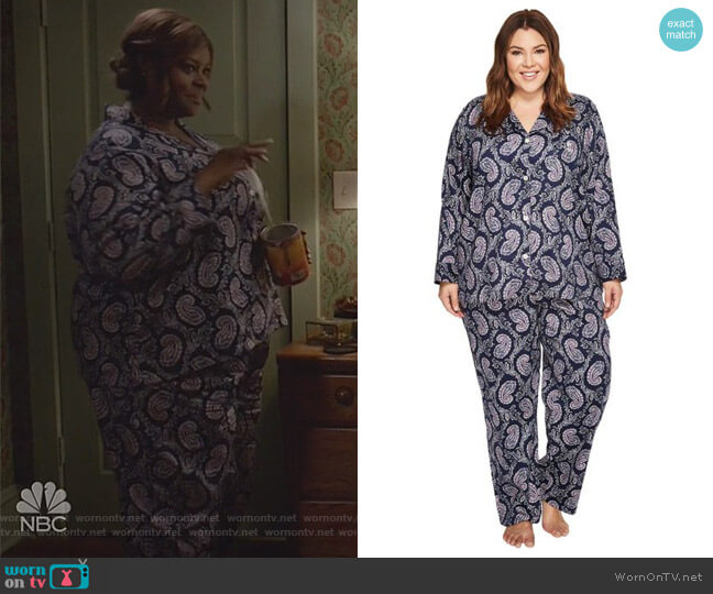 Notch Collar Print Pajama Set by Ralph Lauren worn by Retta on Good Girls