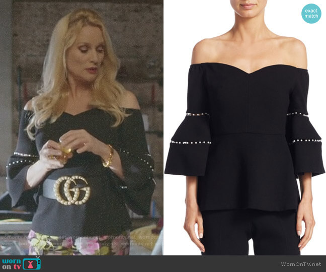 Off-The-Shoulder Bell-Sleeve Top by Lela Rose worn by Alexis Carrington (Elaine Hendrix) on Dynasty