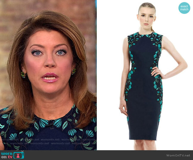 Vine Embroidered Tulle Sheath Dress by Lela Rose worn by Norah O'Donnell on CBS This Morning