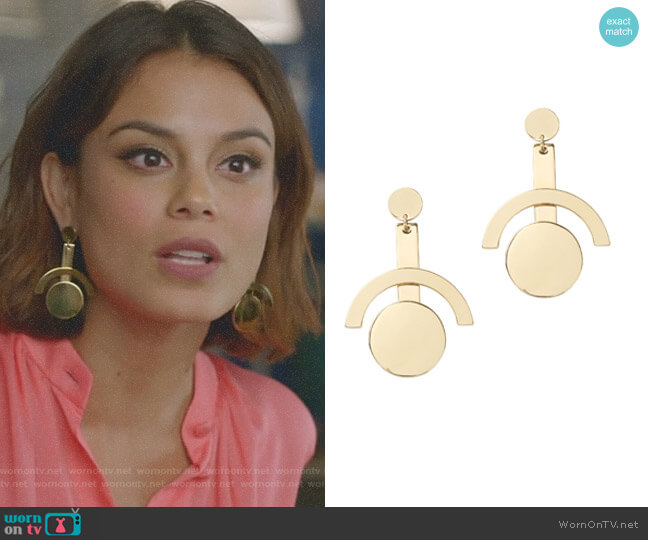 Telescope Earrings by Lele Sadoughi worn by Nathalie Kelley on Dynasty