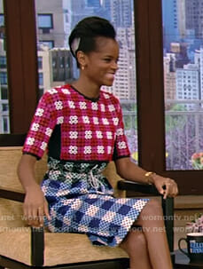 Letitia Wright's multi colored print dress on Live with Kelly and Ryan