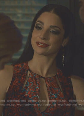 Lilith's red floral cutout dress on Shadowhunters
