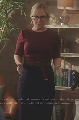 Linda's red and navy belted dress on Lucifer