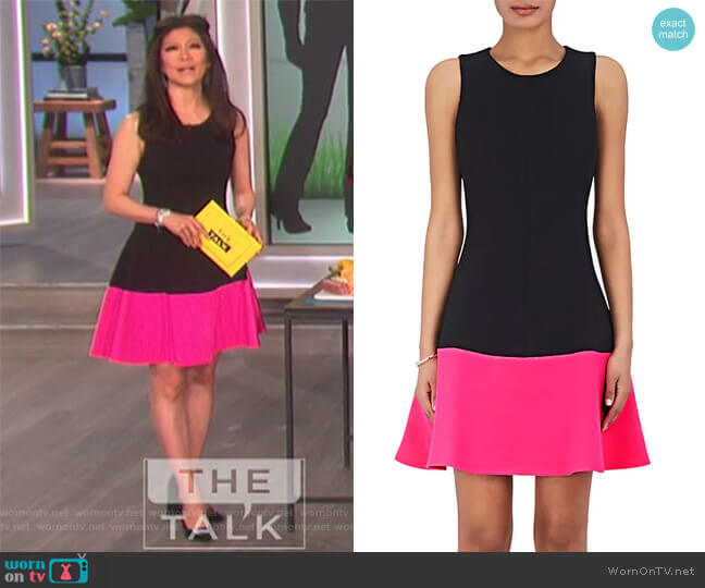 Colorblocked Fit & Flare Dress by Lisa Perry worn by Julie Chen on The Talk
