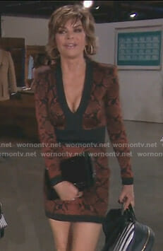 Lisa's brown patterned plunge dress on The Real Housewives of Beverly Hills