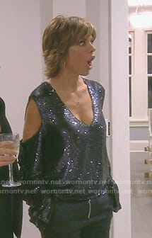 Lisa's sequin cold-shoulder top on The Real Housewives of Beverly Hills
