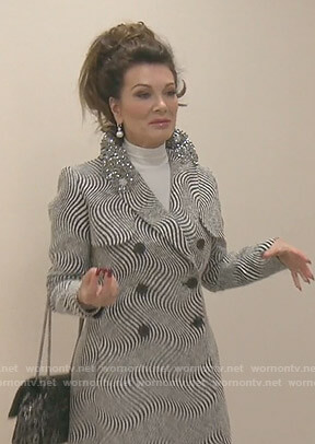 Lisa's wave striped coat with embellished collar on The Real Housewives of Beverly Hills