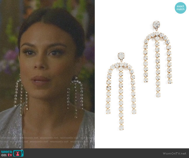 Statement Crystal Earrings by Lulu Frost worn by Nathalie Kelley on Dynasty
