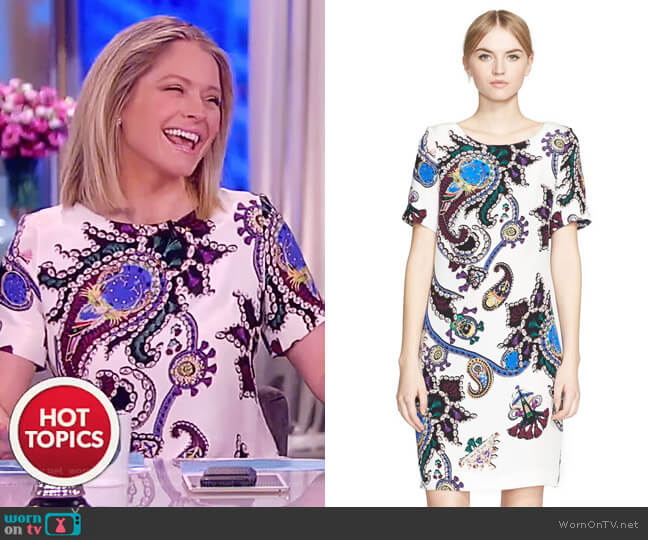 Cameron Print Silk Crepe Dress by Mary Katrantzou worn by Sara Haines  on The View