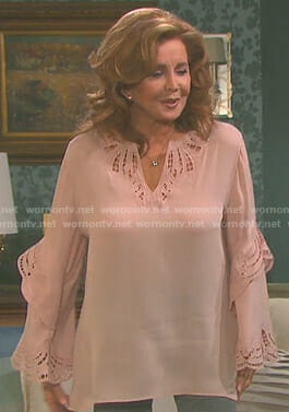 Maggie's pink eyelet blouse on Days of our Lives