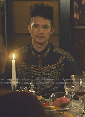 Magnus's navy military jacket print shirt on Shadowhunters