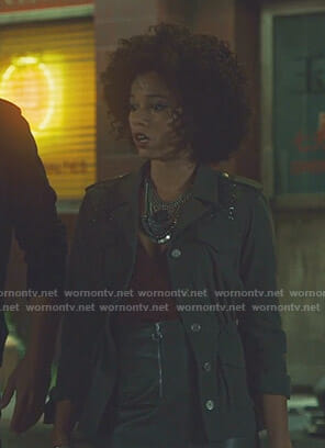 Maia's brown flutter sleeve blouse and zip front mini skirt on Shadowhunters