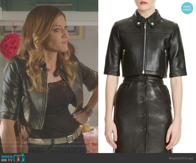 Lucifer Boo Normal: WornOnTV: Charlotte's Black Cropped Leather Jacket On
