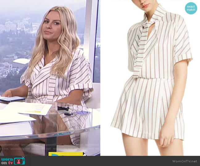 Imaly Stripe Romper by Maje worn by Morgan Stewart on E! News