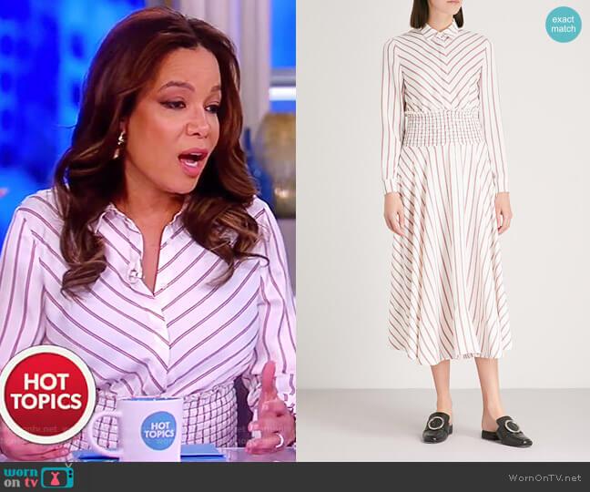 Smocked waist midi dress by Maje worn by Sunny Hostin on The View