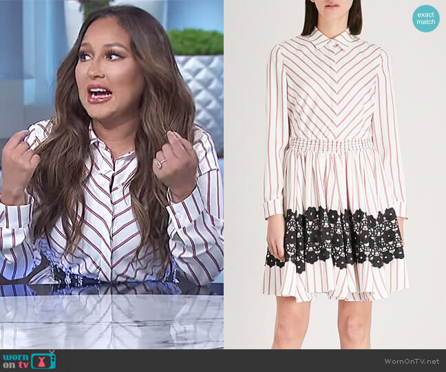 Striped flared lace detail dress by Maje worn by Adrienne Houghton on The Real