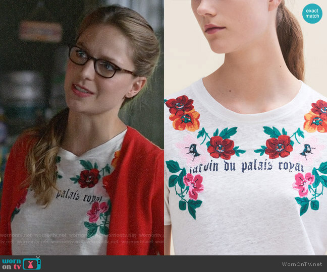 Maje Tanisha T-shirt worn by Melissa Benoist on Supergirl