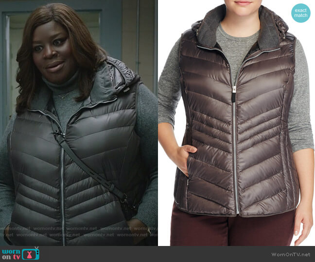 Ruby Hooded Puffer Vest by Marc New York Plus worn by Retta on Good Girls