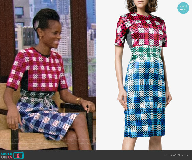 Acacia Gingham Silk Dress by Mary Katrantzou worn by Letitia Wright on Live with Kelly and Ryan