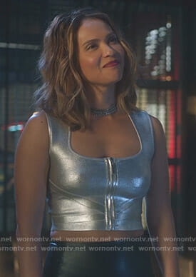 Maze's metallic zip front sleeveless top on Lucifer