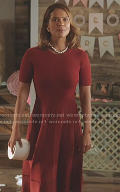 Maze's red short sleeve dress on Lucifer