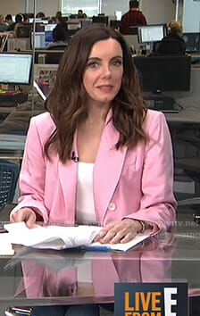 Melanie's pink double breasted blazer on Live from E!