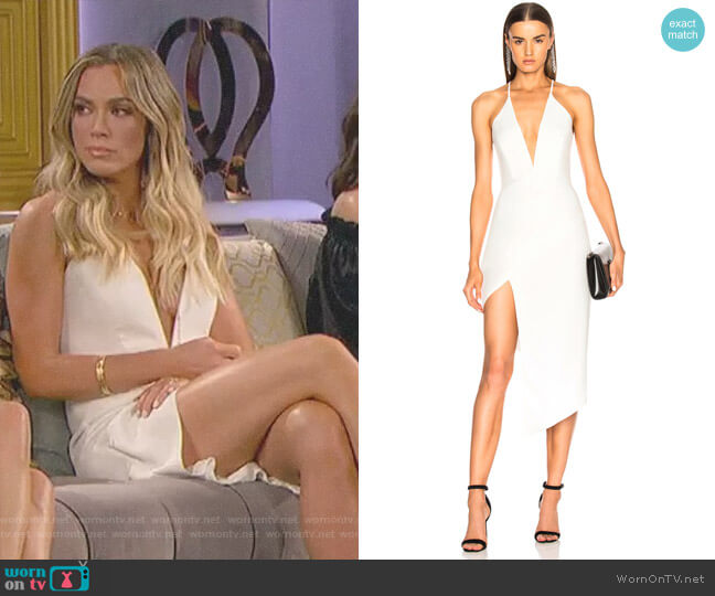 Asymmetrical Plunge Dress by Michelle Mason worn by Teddi Mellencamp Arroyave  on The Real Housewives of Beverly Hills