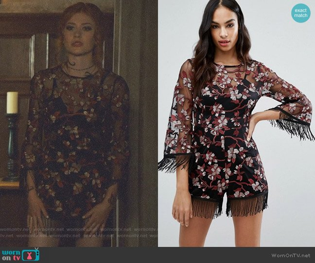 Premium Embroidered Romper by Missguided worn by Clary Fray (Katherine McNamara) on Shadowhunters