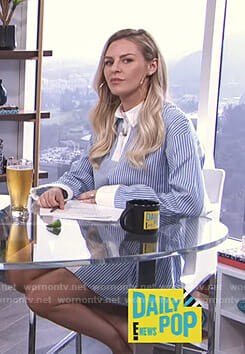 Morgan's blue striped overlay dress on E! News Daily Pop