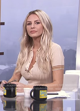 Morgan's beige ribbed polo shirt on E! News Daily Pop