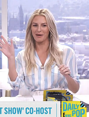 Morgan's blue and white striped blouse on E! News Daily Pop
