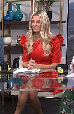 Morgan's red floral ruffled dress on E! News Daily Pop