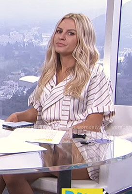 Morgan's white striped romper on E! News Daily Pop