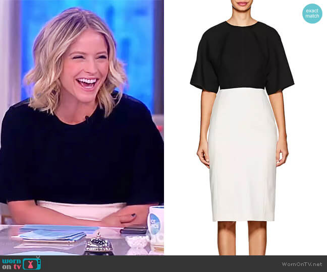 Colorblocked Wool Midi-Dress by Narciso Rodriguez worn by Sara Haines on The View