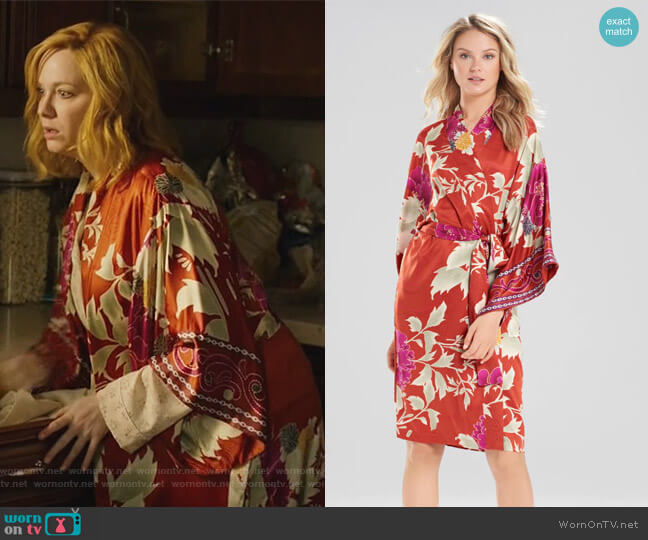 Auburn Floral Robe by Natori worn by Christina Hendricks on Good Girls
