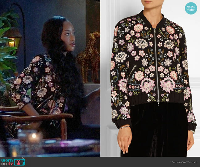 Needle & Thread Embellished Chiffon Bomber Jacket worn by Pepi Sonuga on Famous in Love