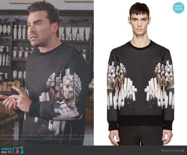 Neoprene Sliced Hercules Sweatshirt by Neil Barrett worn by Daniel Levy on Schitts Creek