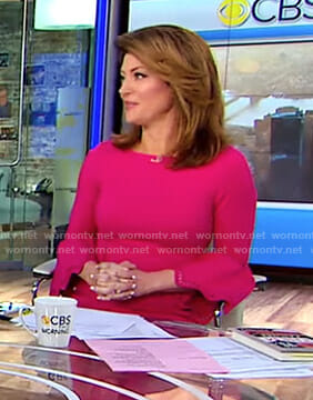 Norah's pink laser-cut bell sleeve dress on CBS This Morning