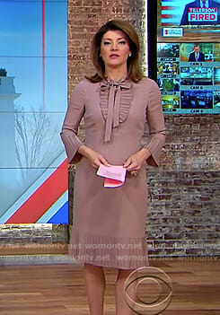 Norah's pink pleated tie neck dress on CBS This Morning