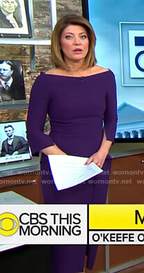 Norah's purple peplum dress on CBS This Morning