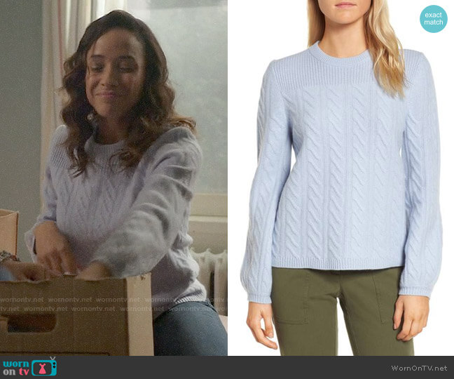 Nordstrom Signature Cable Cashmere Sweater worn by Dania Ramirez on OUAT
