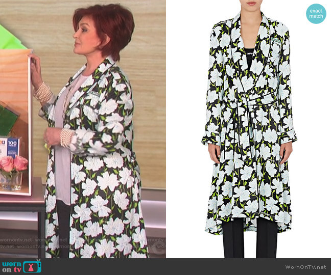 Floral Satin Robe Coat by Off White c/o Virgil Abloh worn by Sharon Osbourne (Sharon Osbourne) on The Talk